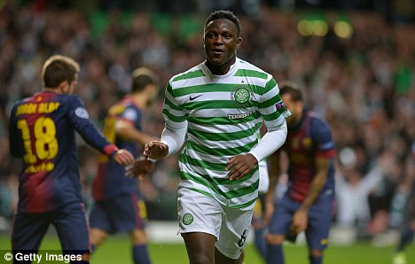 Victor Wanyama celebrates against Barcelona